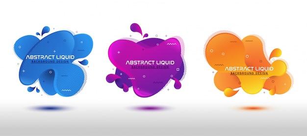 Conjunto de design abstrato líquido formas coloridas