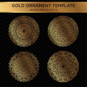 Conjunto de design abstrato ornamento de ouro