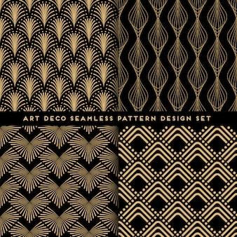 Conjunto de design art deco estilo padrão sem emenda