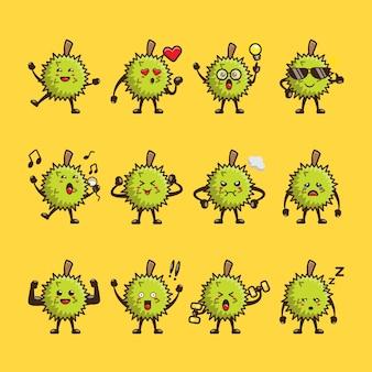 Conjunto de design bonito de desenhos animados durian