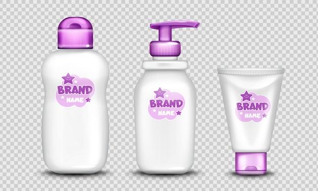 Conjunto de design bonito de pacote de cosméticos de bebê realista