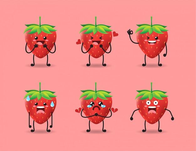 Conjunto de design bonito expressão de morango