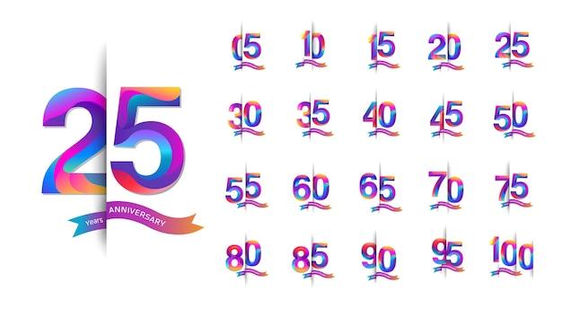 Conjunto de design colorido de emblema de celebração de aniversário