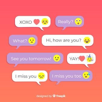 Conjunto de design colorido para mensagens com emoijis
