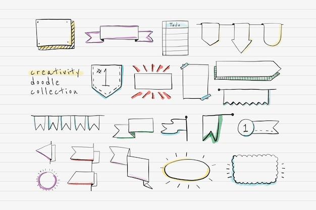 Conjunto de design criativo de banner doodle