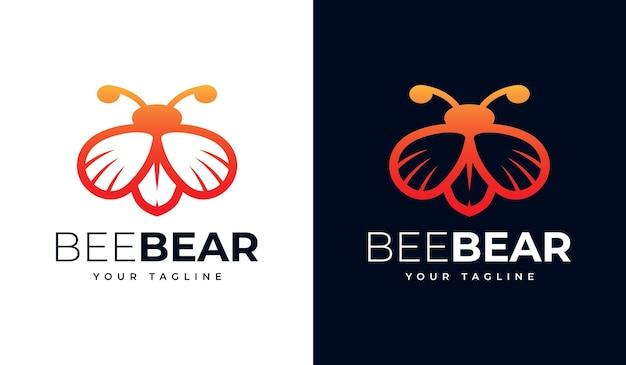 Conjunto de design criativo de logotipo de abelha urso para todos os usos
