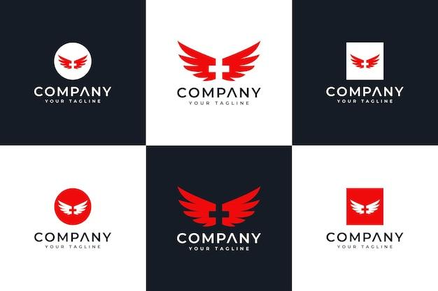 Conjunto de design criativo de logotipo de asas médicas para todos os usos