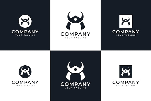 Conjunto de design criativo de logotipo de capacete bushido para todos os usos