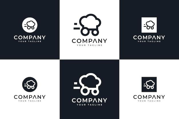 Conjunto de design criativo de logotipo de execução de chapéu de chef para todos os usos