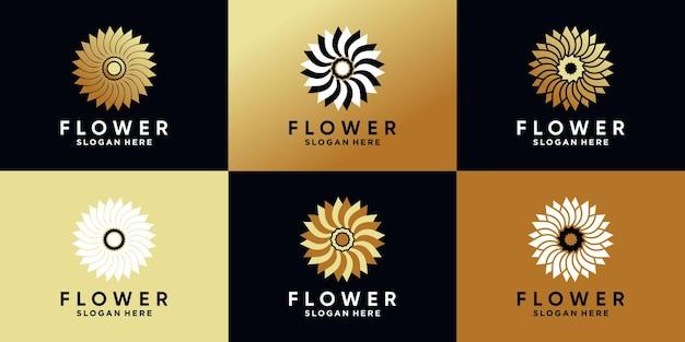 Conjunto de design criativo de logotipo de flor rosa com conceito criativo e cor dourada