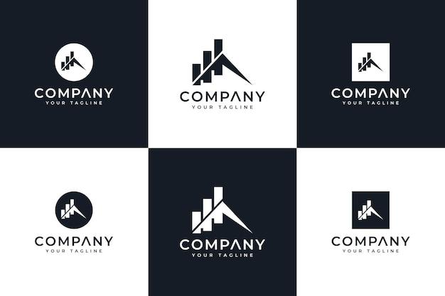Conjunto de design criativo de logotipo de gráfico de montanha para todos os usos