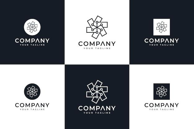 Conjunto de design criativo de logotipo de linha pontilhada para todos os usos