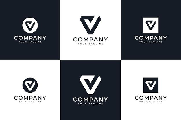 Conjunto de design criativo de logotipo de verificação de letra v para todos os usos