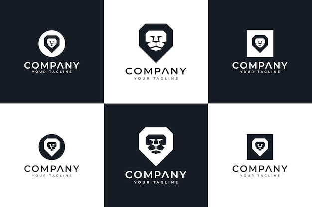 Conjunto de design criativo de logotipo minimalista de leão para todos os usos