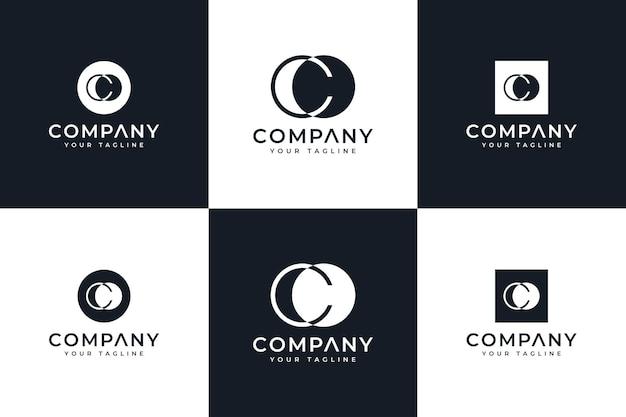 Conjunto de design criativo do logotipo da carta co para todos os usos