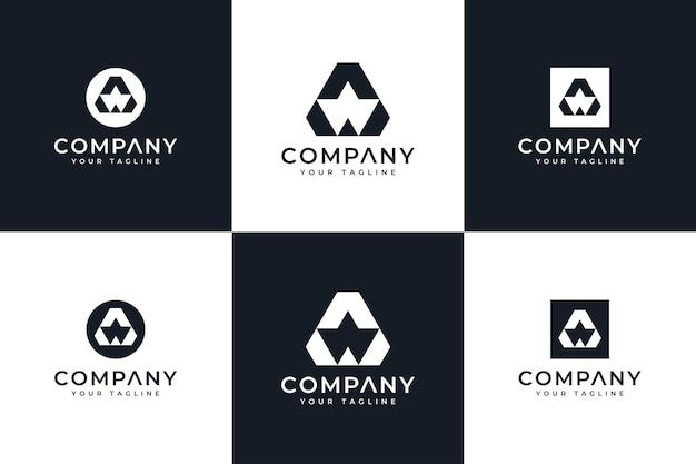 Conjunto de design criativo do logotipo da letra a para todos os usos