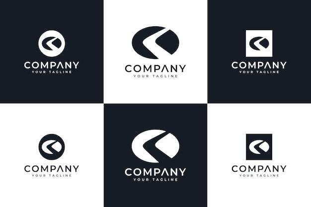 Conjunto de design criativo do logotipo da letra k para todos os usos