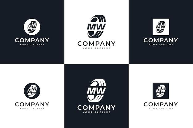 Conjunto de design criativo do logotipo da letra mw para todos os usos