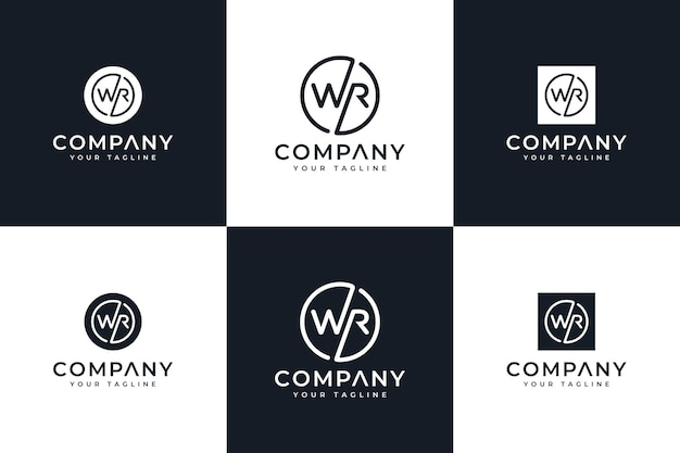 Conjunto de design criativo do logotipo da letra wr para todos os usos