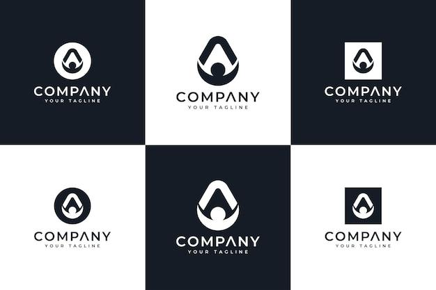 Conjunto de design criativo do logotipo de uma pessoa para todos os usos