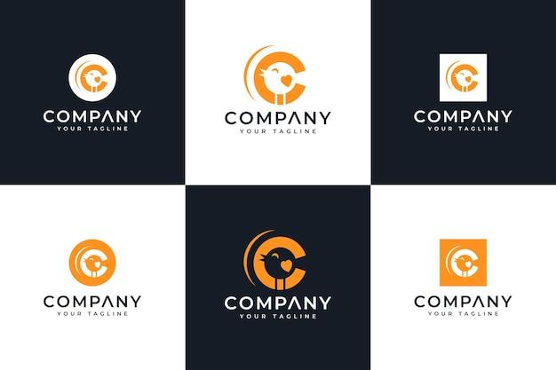 Conjunto de design criativo do logotipo do pássaro da letra c para todos os usos