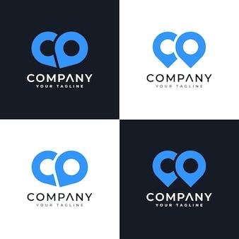Conjunto de design criativo do logotipo do pino do mapa da carta co para todos os usos