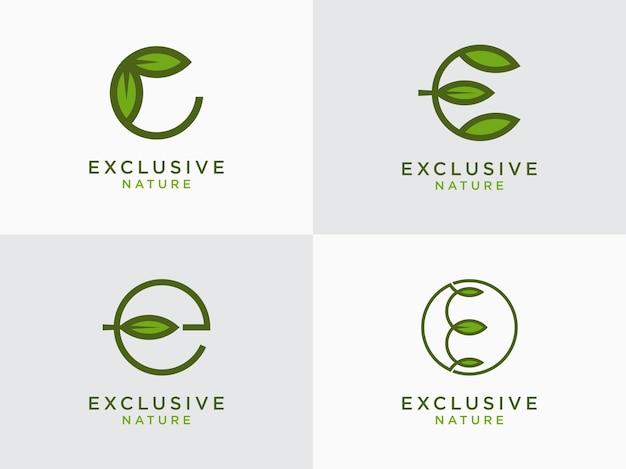Conjunto de design da letra inicial do logotipo da folha e