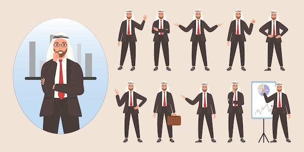 Conjunto de design de avatar de personagem árabe de empresário