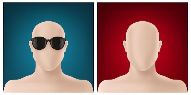 Conjunto de design de avatar sem rosto