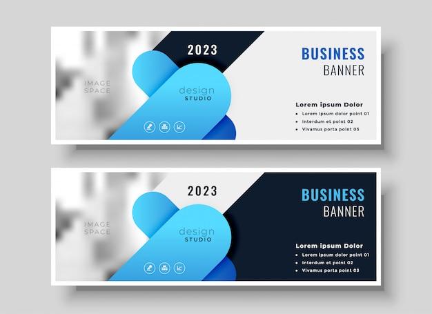 Conjunto de design de bandeira de negócios abstratos