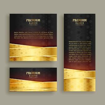 Conjunto de design de bandeira dourada premium