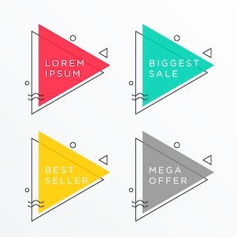 Conjunto de design de banner com forma de triângulo com espaço de texto