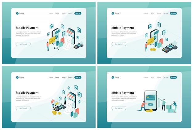 Conjunto de design de banner de página de destino da web para pagamento móvel e conceito de compra online