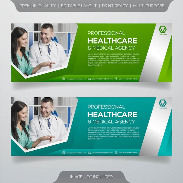 Conjunto de design de banner de saúde