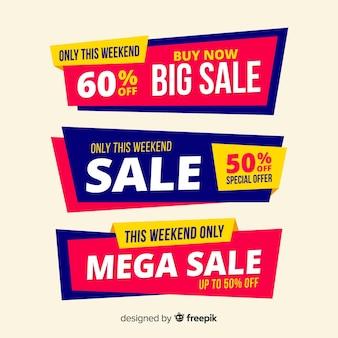 Conjunto de design de banner de vendas grande, mega venda