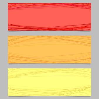 Conjunto de design de banner horizontal colorido - gráfico vetorial com curvas aleatórias
