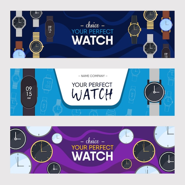 Conjunto de design de banners coloridos de relógios. ilustração do vetor de relógios de pulso de vários estilos