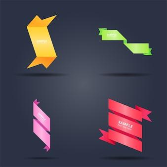 Conjunto de design de banners de fitas coloridas abstratas