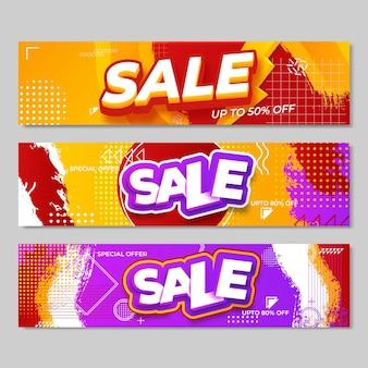 Conjunto de design de banners de venda. ilustração vetorial