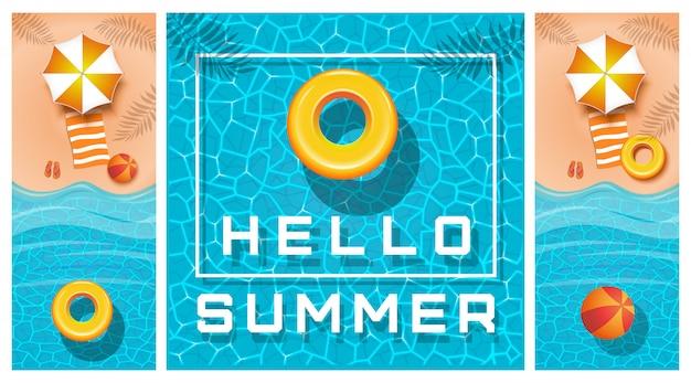 Conjunto de design de banners de verão. coleção de cartões
