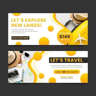 Conjunto de design de banners de viagem