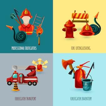 Conjunto de design de bombeiro