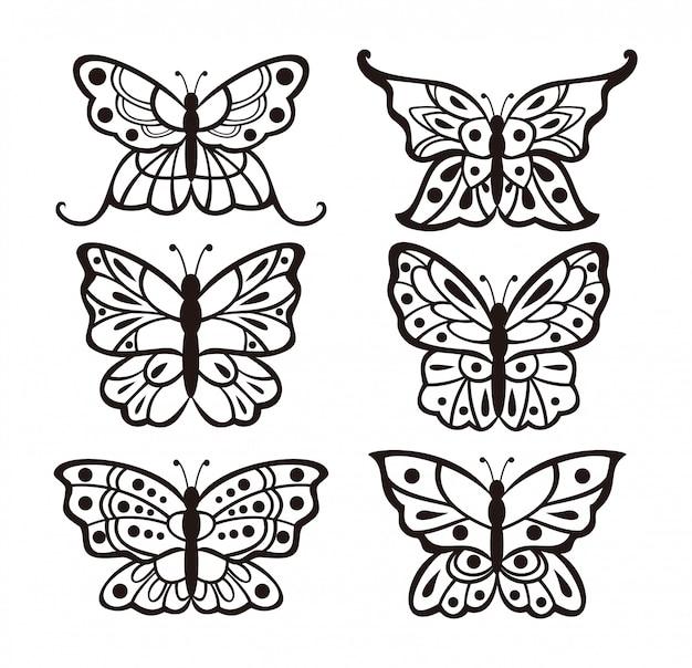 Conjunto de design de borboletas