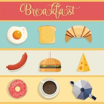 Conjunto de design de café da manhã