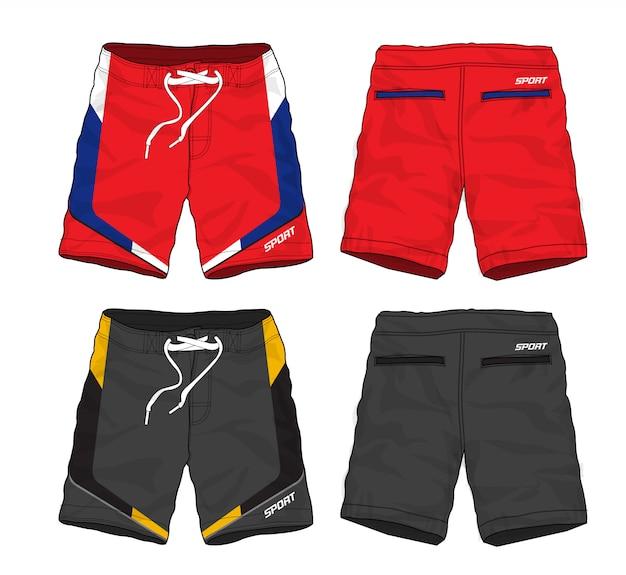 Conjunto de design de calções de desporto.