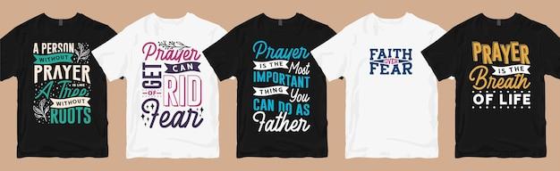 Conjunto de design de camisetas de oração, tipografia, conjunto de coleção de design de camisetas de oração