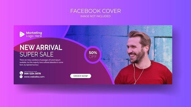 Conjunto de design de capa de facebook de moda masculina