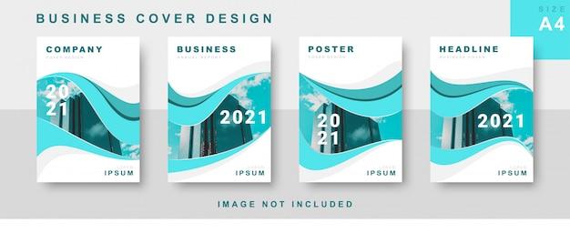 Conjunto de design de capa de negócios com fluxo abstrato