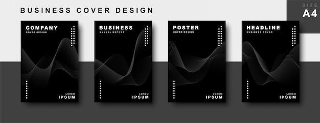 Conjunto de design de capa de negócios com linhas onduladas