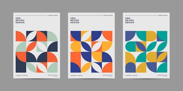 Conjunto de design de capa geométrica retrô